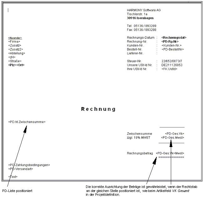 Rechnungsformulare erstellen - HARMONY